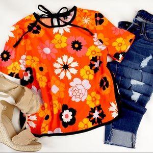 { Victoria Beckham For Target } Orange Floral Top